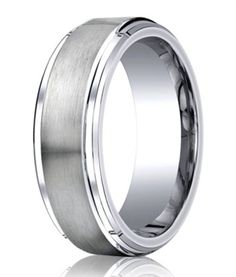 Traditional yet contempoary, this matte satin men's cobalt wedding ring has a highly polished stair step edge. Men love this gorgeous ring! Platinum Wedding Rings, Wedding Bands, Wedding Day, Wedding Stuff, Dream Wedding, Cobalt Wedding, Step Edging, Cruise Wedding, Ring Designs