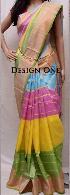 Uppada Multi Color Silk Saree with Gold border by UppadaPattu on Etsy
