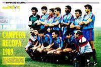F. C. BARCELONA - Barcelona, España - Temporada 1988-89 - Zubizarreta, Julio Salinas, Lineker, Roberto, Aloisio, Eusebio, Alexanco;  Corbella (utillero), Amor, Urbano, Beguiristain, Milla y Mur (masajista) - F. C. BARCELONA 2 (Julio Salinas y López Recarte), SAMPDORIA 0 - 10/05/1989 - Copa de Europa de Campeones de Copa, final - Berna (Suiza), Wankdorfstadion - El Barça, con Cruyff de entrenador, gana su 3ª Recopa de Europa Barcelona Football, Fc Barcelona, Dream Team, Madrid, Wrestling, Baseball Cards, World, Team Building, Football Team