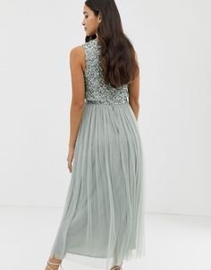 5c0222ff2e5 Maya Bridesmaid sleeveless midaxi tulle dress with tonal delicate sequin  overlay in green lily