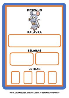 Fichas consciência fonológica ~ Espaço Professor Portuguese Lessons, Learn Portuguese, Alphabet Activities, English Words, Homeschool, Language, Teaching, Writing, Cards