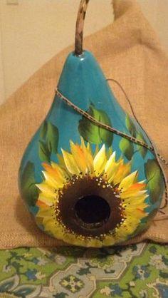 Sunflower gourd birdhouse, hand painted gourd house, gourd birdhouse by dorothea
