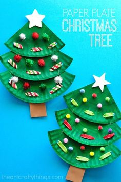 Fun paper plate Christmas tree crafts for kids, preschool Christmas crafts . - Fun paper plate Christmas tree crafts for kids, preschool Christmas crafts, Chris …, - Kids Crafts, Christmas Art Projects, Christmas Arts And Crafts, Christmas Crafts For Toddlers, Christmas Tree Crafts, Toddler Crafts, Preschool Crafts, Holiday Crafts, Preschool Christmas Activities