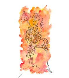 Damoiselle belle époque en aquarelle et dessin à la plume par TillyfoO ❤❤❤❤❤❤