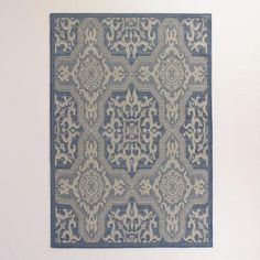 One of my favorite discoveries at WorldMarket.com: 5'x7' Blue and Gray Sufi Tiles Indoor-Outdoor Rug
