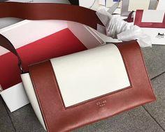 55776a7dc3 Spring 2017 Celine Shiny Smooth Calfskin Textile Medium Frame Shoulder Bag  Red white Celine