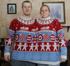 toms 2 headed dual his hers siamese double ugly christmas together sweater fit 2