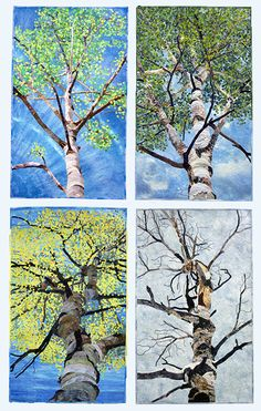 "A Year Under the Aspens,  98""w x 40""h, art quilts by David Taylor. Four panels, each 24""w x 40""h. David Taylor 