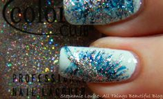 Color Club Blue & Gray Fall 2013 Glittered Abstract Feathers Nail Art http://stephanielouiseatb.blogspot.com/2013/11/color-club-blue-gray-fall-2013.html  #colorclub #DIY #nailart #nails #manicure #fall #winter #holo #feather #nailpolish