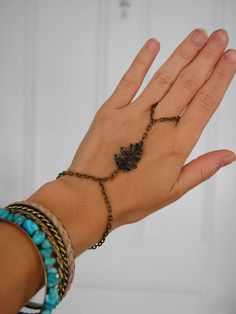 Antique Brass Leaf Hand Chain Ring by theriveriseverywhere on Etsy, $10.00
