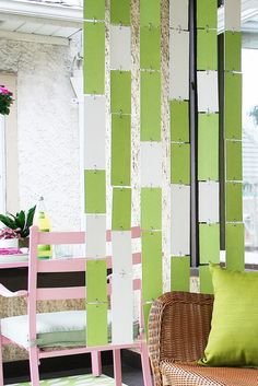 DIY hanging room divider. Attach to the railing. Need DIY Hanging Room Divider