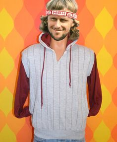vintage 80s hoody sweatshirt heathered gray stripes henley Medium hoodie rayon 70s. $20.00, via Etsy.
