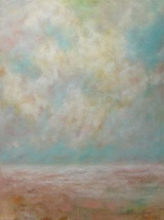 Beach Sky Clouds Oil Painting on Canvas Large by traceynicholas