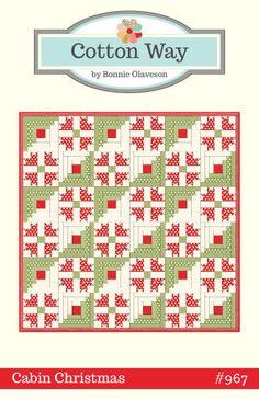 Cotton Way Cabin Christmas Quilt Pattern by PinkDoorFabrics