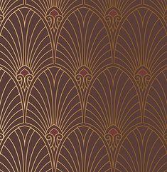 Bradbury Art Deco Designs Havana Deco Fan Wallpaper in Mahogany Art Nouveau Wallpaper, Retro Wallpaper, Pattern Wallpaper, Wallpaper Borders, Empire Wallpaper, Iphone Wallpaper, Motif Art Deco, Art Deco Pattern, Art Deco Design