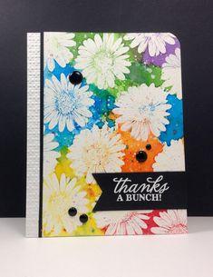 Hello Sunshine Daisies: Hero arts, embossed, watercolor, smooshing, by beesmom at splitcoast