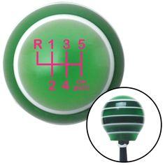 Pink Shift Pattern OS20n Green Stripe Shift Knob with M16 x 15 Insert