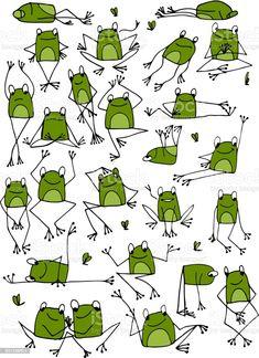 Doodle Drawings, Animal Drawings, Doodle Art, Easy Drawings, Frog Drawing, Drawing For Kids, Art For Kids, Art Postal, Funny Frogs