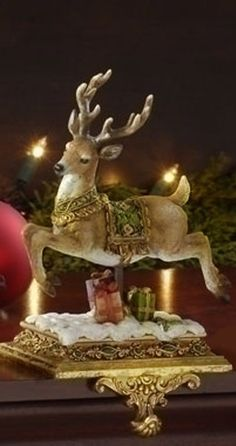 Gorgeous Golden Reindeer Ornament Ideal For The Mantle, Hall, Or Christmas Table ✿⊱╮ Magical Christmas, Elegant Christmas, Noel Christmas, Victorian Christmas, Little Christmas, Country Christmas, Christmas Colors, Beautiful Christmas, Vintage Christmas