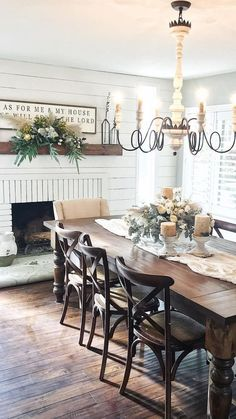 10 Farmhouse Dining Table For Any Homey Design Farmhouse Dining Room design Dining Farmhouse Homey Table Farmhouse Dining Room Table, Dining Room Walls, Dining Room Furniture, Fireplace In Dining Room, Kitchen Tables, Country Dining Rooms, Kitchen Dining Rooms, French Country Dining Table, Dark Wood Dining Table