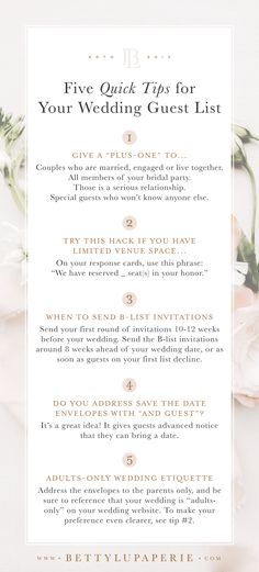 Lets talk about wedding guest list etiquette. How do you know who to invite? Who gets a plus one? Should you have a B list? What do you do if you have a small wedding with limited space? Pin these quick tips and visit the blog post for more! #weddingplanning #weddingguest #weddingideas #weddinginvitations #weddingtips
