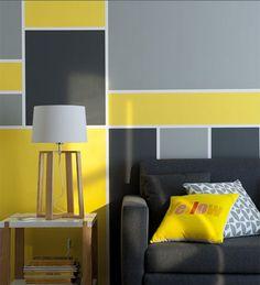 Création artistique  Le mur est une toile vierge. Joués comme un tableau d'art contemporain, les carrés, de tailles et couleurs différentes, donnent du rythme. Avec la peinture, exprimez votre créativité ! http://www.castorama.fr/store/pages/idees-decoration-facile-jouer-peinture.html