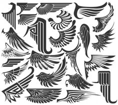 Wings Clipart and Stock Illustrations. Wings vector EPS illustrations and drawings available to search from thousands of royalty free clip art graphic designers. Tatuagem Pin Up, Art Deco Tattoo, Gravure Laser, Wing Tattoo Designs, Desenho Tattoo, Flash Art, Graphic Design Art, Body Art Tattoos, Tatoos