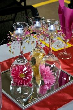 56 Ideas Wedding Table Decorations Roses Wine Glass For 2019 Wine Glass Centerpieces, Bridal Shower Centerpieces, Wedding Table Decorations, Floral Centerpieces, Wedding Decor, Diy Wedding, Wine Glass Candle Holder, Tealight Candle Holders, Glass Holders