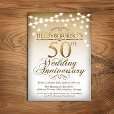 50th Wedding Anniversary Invitation / Gold White / String Lights / Fairy Lights / Digital Printable Invitation / Customized on Etsy, $10.00