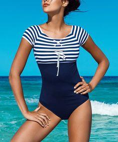 Look at this #zulilyfind! Navy Blue & White Stripe One-Piece #zulilyfinds
