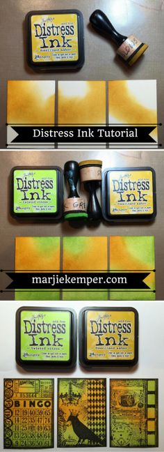 Distress Ink Tutorials - ATCS with Marjie Kemper