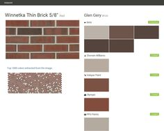 Click the gray Visit button to see the matching paint names. Ralph Lauren Paint, Brick Masonry, Ppg Paint, Valspar Paint, Thin Brick, Paint Matching, Brick Colors, Red Bricks, Behr