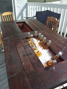 My room-mate and I built ourselves a deck table with built in coolers. I thought you guys might appreciate it. - These guys are geniuses! Deck Table, Porch Table, Outdoor Dinning Table, Bbq Table, My Dream Home, Home Projects, Diy Furniture, Handmade Furniture, Man Cave Furniture