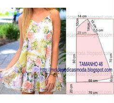 Molde de vestido fácil de fazer com medidas tamanho 46, corte e costura fácil.