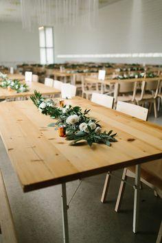 minimalist wedding centerpieces - photo by Rachel Meagan Photography http://ruffledblog.com/industrial-texas-wedding-with-romantic-minimalism