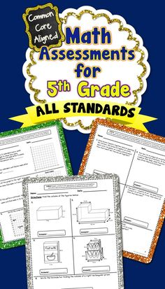 5th Grade Common Core Math Assessments...There are 2 assessments included for each standard! These assessments packs are also available for grades 1-4! #commoncore #commoncoremath #commoncoreassessments