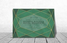 Emerald Green/Gold Geometric Wedding Invitation  Custom made | Digital Download