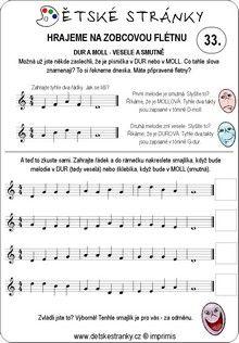 Škola hry na zobcovou flétnu zdarma - LEKCE 33. Word Search, Sheet Music, Words, Music Sheets, Horse