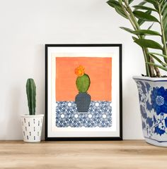 flowering cactus art gift original artwork - still life painting - collage mixed media art, affordable art, small art, cactus wall art ooak Love Collage, Collage Artwork, Painting Collage, Blue And White Vase, White Pot, Cactus Wall Art, Guest Book Tree, Borders For Paper, Childrens Room Decor
