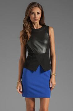 Leather Clothing in the Office: Tibi Leather and Ponte Sleeveless Dress from Revolve Clothing. #Stylish365