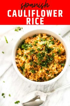 Spanish Cauliflower Rice is a fast and easy veggie side that people go crazy for! You will be surprised at how well it tips its hat to classic Spanish Rice, but without the carbs. A drizzle of lime juice and a sprinkling of cilantro at the end completes this simple dish with an extra pop of flavor. It is just the right match for tacos, enchiladas, or grilled chicken. This super easy side dish is perfect for a low carb, keto, gluten free or clean eating diet. I call that WINNING! Rice Recipes, Side Dish Recipes, Vegetarian Recipes, Healthy Recipes, Keto Recipes, Lunch Recipes, Dinner Recipes, Cheap Recipes, Diabetic Recipes