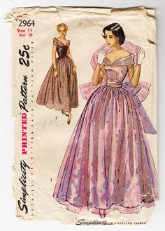 Evening Dress Pattern Simplicity 2964 Junior Wedding Bridal Full Skirt Formal Gown Bust 29 Womens Vintage Sewing Pattern -costume concept for young queen. Moda Vintage, Vintage Mode, Vintage Outfits, Vintage Dresses, Elegant Dresses, Vintage Dress Patterns, Clothing Patterns, Formal Dress Patterns, 1940s Fashion