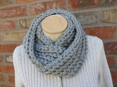 Chunky Gray Hand Crocheted Infinity Scarf for Teen Girls and Women