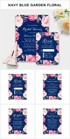Navy & Pink Beautiful Romantic Chic Floral Flowers Roses BRIDAL SHOWER Invites Announcements Invitations BRIDAL SHOWER SET> Get Your Stamps, Invitations, RSVP, Address Labels & More with one click! YOU CHOOSE~ Easy online ordering and customizing! ~Order 25 invites and save 15%, order 50+ invites and save 25% off every order, great DEAL!   #bridalshower #navy #pink #pretty #roses #chic