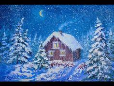 """Видео урок """"Как нарисовать пейзаж новогодняя ночь"""" - YouTube"""