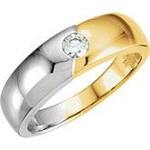 """Symbolizing the union of """"two becoming one,"""" the dual tones of this white and yellow men's wedding band meet in the center around carat flush-set diamond. Ref# Goldex Fine Jewelry ~ Wedding Rings Solitaire, Engagement Rings Round, Gold Diamond Band, Diamond Wedding Bands, Unusual Rings, Eternity Ring, Fine Jewelry, Yellow, Fingers"""