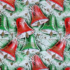 Vintage Kaycrest Christmas Wrapping Paper - Red and Green Bells Vintage Christmas Wrapping Paper, Christmas Gift Wrapping, Christmas Paper, Christmas Bells, Christmas Things, Christmas Time, Snoopy Christmas, Retro Christmas, Vintage Holiday