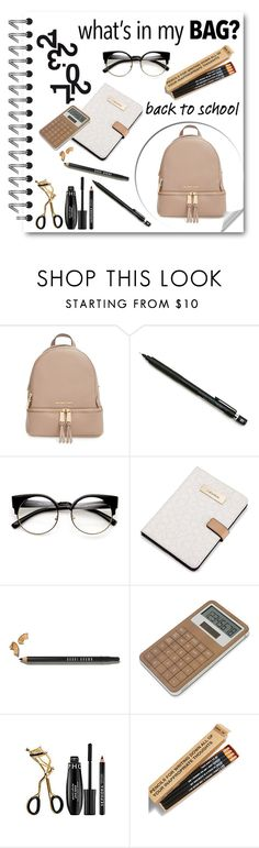 """BTS 5"" by agathocleous ❤ liked on Polyvore featuring MICHAEL Michael Kors, Pentel, Calvin Klein, Bobbi Brown Cosmetics, LEXON, Sephora Collection, Jac Vanek, backpack and inmybackpack"