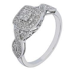 Ernest Jones - 9ct white gold 1/4 carat diamond cluster ring