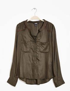 Chemise avec galon bicolore kaki femme • Jennyfer